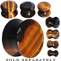 0 Gauge Tiger Eye Semi Precious Stone Faceted Double Flare Plug | Body Candy Body Jewelry
