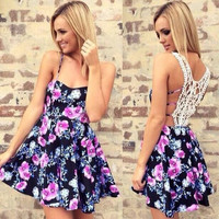 Sexy women lace splicing  strap floral print ball gown party dress