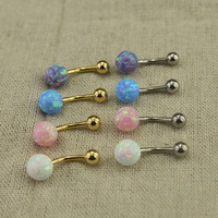 opal belly ring belly button ring fabulous belly button jewelry,girlfriend belly ring,opal navel ring