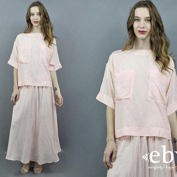 Two Piece Set Matching Set Pink Outfit Minimalist Outfit Minimalist Dress Pink Maxi Skirt 80s Outfit 90s Outfit 80s Dress 90s Dress M L