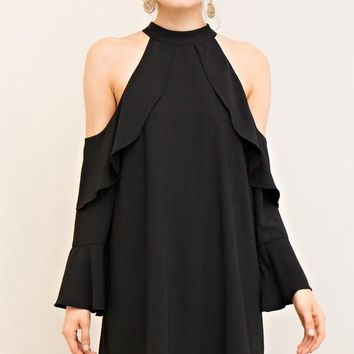 Black Cold Shoulder Ruffle Sleeve Dress