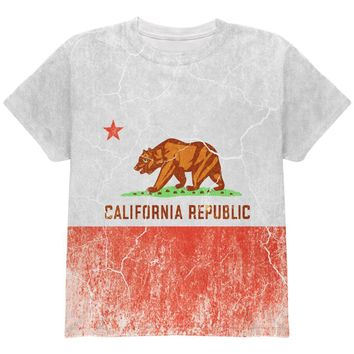 California Vintage Distressed State Flag All Over Youth T Shirt