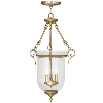 Livex Lighting 5025-01 Legacy Antique Brass Three Light Chain Hung Pendant with Hand Blown Clear Seeded Glass