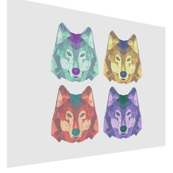 Geometric Wolf Head Pop Art Matte Poster Print Landscape - Choose Size by TooLoud