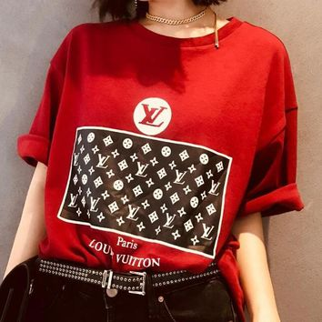 LV Louis Vuitton New Popular Casual Print Round Collar T-Shirt Top Blouse Red
