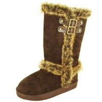 Qupid Oakley Brown Furry Faux Fur Mukluk Boots