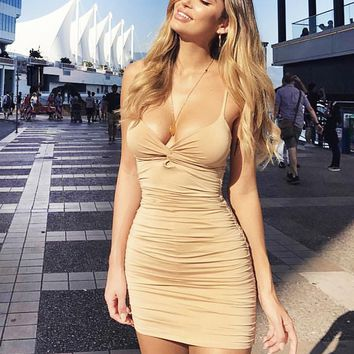Fashion New Summer Solid Color Sexy Straps Dress Women Beige