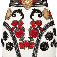 Dolce & Gabbana - Embellished embroidered leather mini skirt