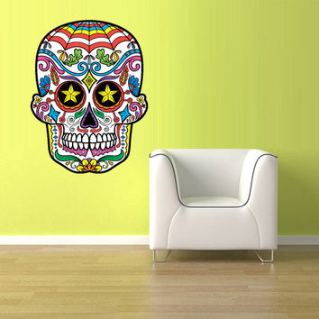 Full Color Wall Decal Mural Sticker Decor Art Beautyfull Cute Sugar Skull Bedroom Curly modern fashion (col606)