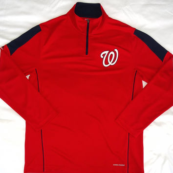 Washington Nationals Majestic 1/4 Zip Cool Base Long Sleeve Shirt Size L