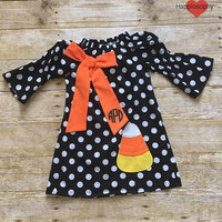 Halloween Dress, Candy Corn Dress, Monogram Halloween, Girls, Toddler, Polka Dot Dress, Personalized, Halloween Outfit, Boutique Dress, Corn