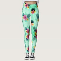 Cool blue base with pink floral texture leggings