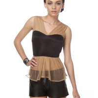 Sexy Tank Top - Black Top - Brown Top - $44.00