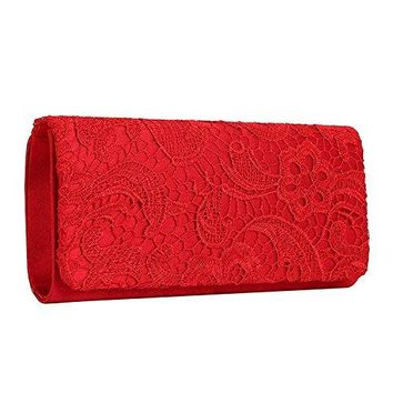 LovelyPrice Womens Elegant Floral Lace Evening Clutch Bags Bridal Purse Handbag For Wedding amp Party