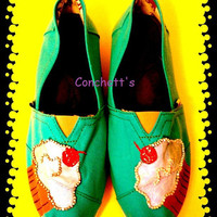 Hand Painted Toms Cupcake by conchetts on Etsy