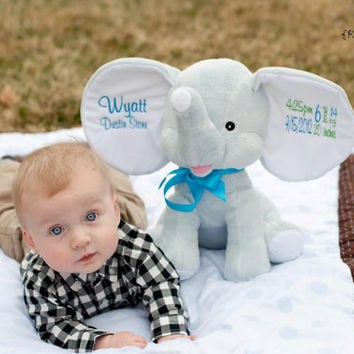 "Personalized Baby Gift, ""Baby Cubby"" Dumble Elephant,  plush keepsake available in pink or blue, with machine embroidered birth information"