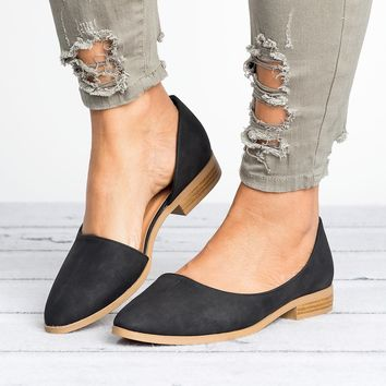 D'Orsay Distressed Leather Flats - Black