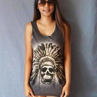 Skull  indian Skeleton  Black White Tank top shirt  Singlet T-Shirt Dress Retro Rock Punk Pop Unisex M L XL
