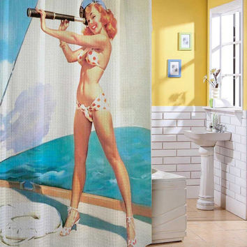 Sexy Retro Vintage Pin Up Girl Yatch Navy Shower Curtain