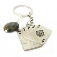 Father's Day Gift, Poker Keychain, Lucky Poker Key Chain, Playing Cards Keychain, Dad Keychain, Car Accessory, Poker Gift