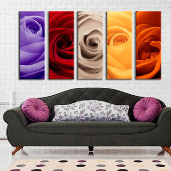 Large Wall Art Colorful Mixed Rose Canvas Art Prints, 5 Panels Framed Ready to Hang, Cherry Blossom Prints On Canvas, 100% Quality Prints
