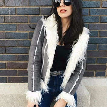 Faux fur coat hairy overcoat shearling jacket