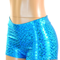 Caribbean Blue Mid Rise Mermaid Scale Booty Shorts