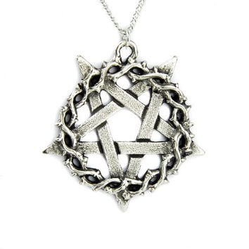 Thorn Vine Inverted Pentagram Necklace Jewelry