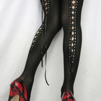 Sock Dreams - Opaque Thigh High Stockings with Lace Up Back