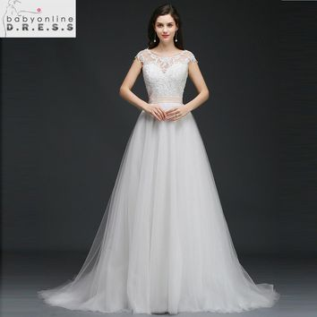 Sexy Open Back Tulle Wedding Dresses with Belt 2018 Charming O Neck Appliques Lace Bridal Dress Cap Sleeve Dress Robe de Mariee
