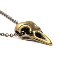 Raven Skull Necklace Antique Gold Bird Taxidermy NL31 Gothic Crow Head Pendant Fashion Jewelry