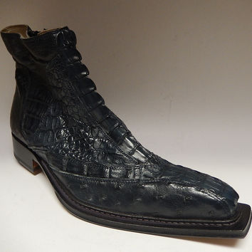 Fennix Italy Hornback & Ostrich Ankle Boots 3408