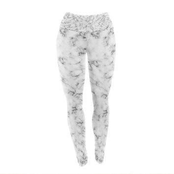 "Will Wild ""Marble"" White Gray Yoga Leggings"