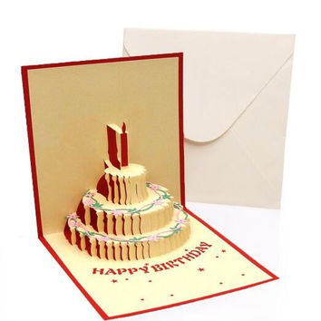 3 Pcs 3D POP UP Handmade Customized Greeting Words Creative Gift Card C1001