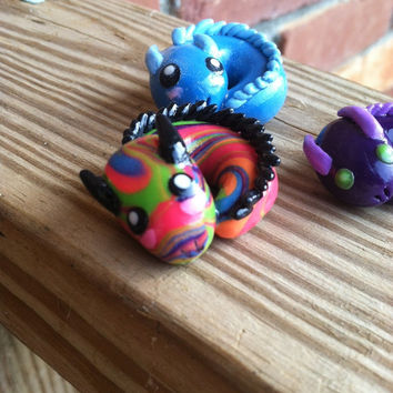 Rainbow baby dragon polymer clay charm by ImperfectArts on Etsy
