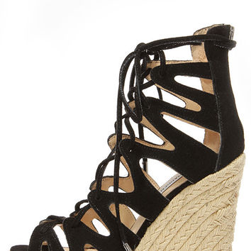 Steve Madden Theea Black Suede Leather Lace-Up Wedge Sandals