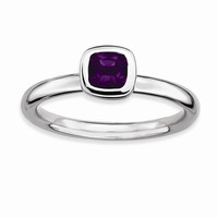 Sterling Silver Stackable Expressions Cushion Cut Amethyst Ring: RingSize: 7