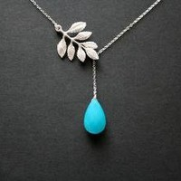 Ocean blue gemstone and leaf necklace by DelicacyJ on Etsy
