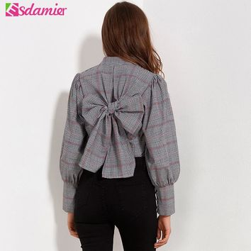 New Fashion  Female Back Big Bow Kimono Blouse Spring Tops Women Button Up Slim Shirts Women XXL