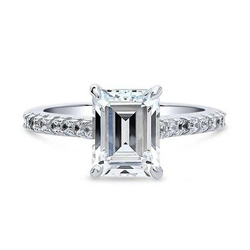 A Perfect 2.5CT Emerald Cut Russian Lab Diamond Engagement Ring