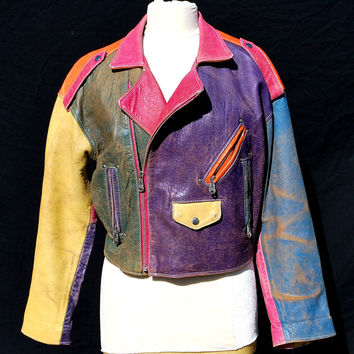 Vintage 80's EXPRESS colorblock biker jacket UNISEX motorcycle batwing multicolor leather jacket Sm by thekaliman