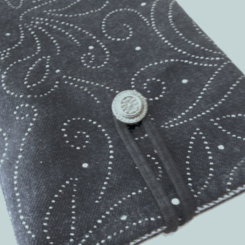 Denim kindle case, Kindle Fire Case, kindle 3 Keyboard, Google Nexus 7, Galaxy, Tab - Embroidered sleeve, padded cover