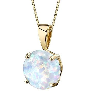 Opal Stone 1.00 Ct Opal Created Pendant Drop  Necklace Womens Necklace Gift Ideas