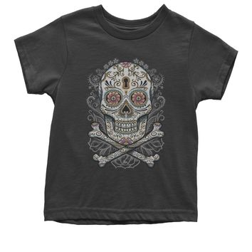 Floral Skull And Crossbones Youth T-shirt