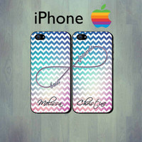 SALE - Best Friend Chevron iPhone Case - Personalized Infinity iPhone 4 Case or iPhone 5 Case - 2 Case Set
