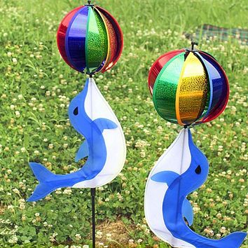 Rainbow Wind Spinner Colorful Windmill Cute dolphin Garden Decorative Stakes