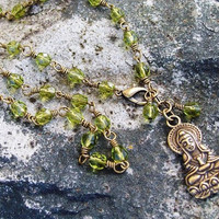 Buddha Pendant Necklace - Guanyin Pendant Necklace - Green Crystal - Wire Wrapped Olive Green Beaded Necklace - Goddess of Mercy