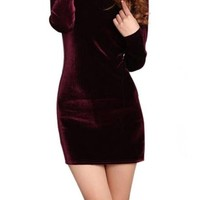 Viwenni Women's Long Sleeve Clubwear Bodycon Sexy Mini Party Dresses Asia Size S-L