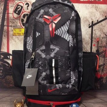 DCCK2 Nike Fashion Kobe Canvas Leisure Sports Travel Backpack 55-32-25cm Black Red