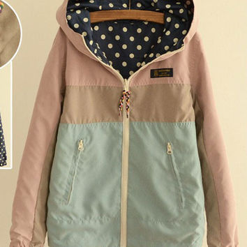 Color Block Polka Dot Side Zip Pocket Hooded Jacket